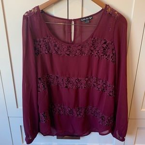 Double Zero Sheer and Crochet Lace Blouse